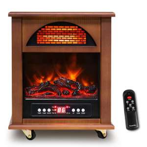 FLAMEMORE Infrared Cabinet Heater with Realistic Flame 12H Timer