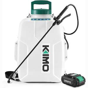 KIMO 3 Gal. 20V Li-Ion Battery Powered Backpack Sprayer w: 2.0Ah Battery&Charger, 2 Extended Hoses, 3 Nozzles