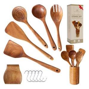 PL Winston Wooden Kitchen Utensil Set With Holder