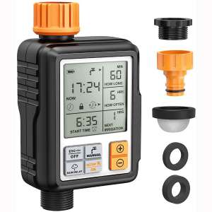 "Homitt Programmable Water Timer,3"" Large Screen:IP65 Waterproof:Child Lock Mode:Auto&Manual Mode:Rain Delay:Upgrade Material"