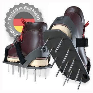 Lawn Aerator Shoes - HEAVY-DUTY Aerating Tool with A NEW Spike's Grip System and IMPROVED Heel Support - Lawn Sandals with 24 Aerating Spikes