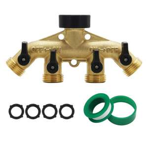 ATDAWN 4 Way Brass Hose Splitter