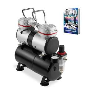 PointZero Professional 1/3 HP Double Piston Quiet Airbrush Compressor