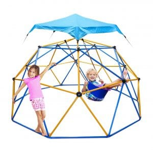 Jugader10FT Climbing Dome with Canopy and Swing for 3 to 10 Kids