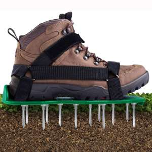Ohuhu Lawn Aerator Shoes with Hook & Loop Straps, All New Unique Design Free-Installation Heavy Duty Spiked Aerating Sandals