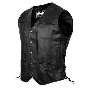 HWK Leather Motorcycle Vest for Men