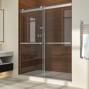 ELEGANT Sliding Shower Door, Brushed Stainless Steel