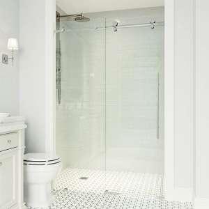 VIGO VG6021CHCL7276 Frameless Sliding Shower Door