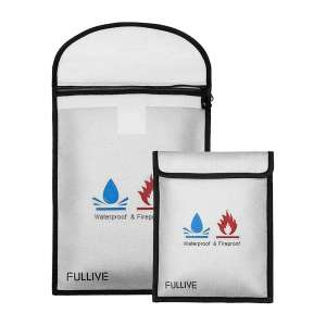 Fullive Fireproof Document Storage Bag with Money Pouch Envelope