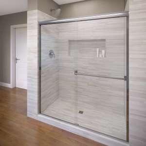 Basco Classic Sliding Shower Door, Silver Finish