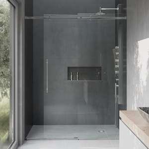 VIGO VG6043CHCL6074 Sliding Shower Door with a Reversible Handle
