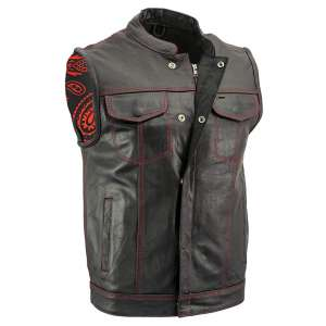 Xelement Men's Paisley Black Leather Vest