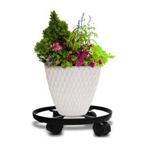 """Amagabeli 14"""" Plant Stand With Wheels, Black"""