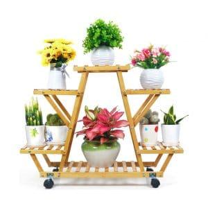 foldify Bamboo Plant Stand (6 Flowerpots)
