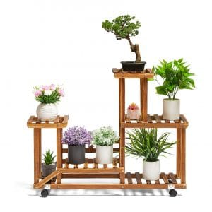 TOETOL Wood Plant Stand with Wheels (7-9 Flowerpots)
