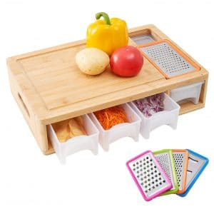 Worthyeah Wood Chopping Board with Containers