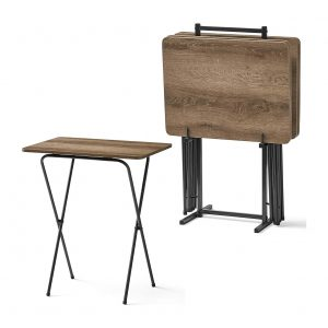 HOME TRENDZ Folding Tray Table, Rustic Brown