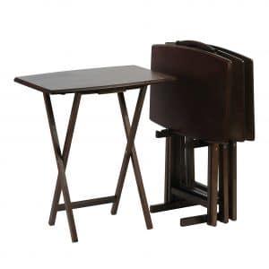 PJ Wood Folding TV Tray Table- 5 Piece Set