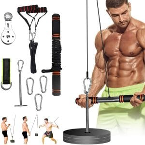 PELLOR Fitness LAT and Lift Attachments, Forearm Wrist Weight Cable Machine for Triceps Pull Down, Biceps Curl,Back, Forearm, Shoulder- Home Gym Equipment
