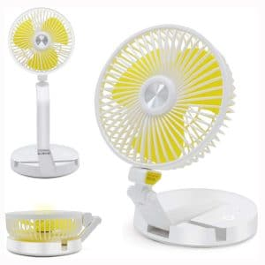 Yocuby Foldable Fans, Portable Table and Desk Fan with Lights, USB Rechargeable Fan, 16INCH Cordless Outdoor Standing Fan for Home, Office, Camping and Picnic (White)