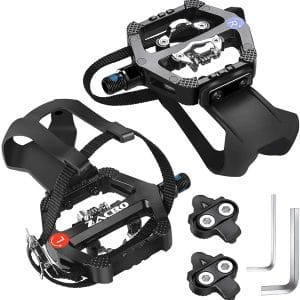 """Zacro Spin Bike SPD Pedals 9:16"""" with Clips and Straps, Dual Alloy Bicycle Pedals, SPD Pedals Compatible"""