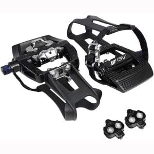 BV Bike Shimano SPD Compatible 9:16'' Pedals with Toe Clips (SPD Cleats included) - Spin:Indoor:Exercise:Peloton Bicycle Pedals