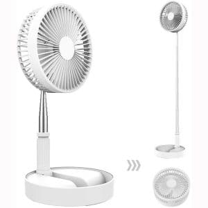 Desk and table fan, Air Circulator Fan Portable Travel Mini Fan Battery Operated or USB Powered,Adjustable Height from 14.2 inch to 3.3ft as Pedestal stand floor Fan