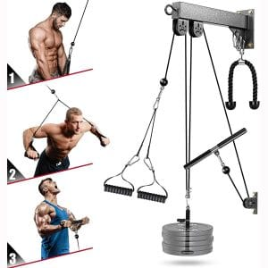 Elikliv Fitness LAT and Lift Attachments Gyms, LAT Pull Down Machine Cable Attachments for fitness, Tricep Pro- Pullet Cable Machine Systems with Pulldown Bar, Home Gyms Workout