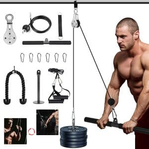 3in1 Pulleys Cable, Home Cable Pulleys, Fitness Systems,Gyms Equipment for Home, with Straight Bar, Band Handles Grips, Nylon Tricep Rope, 3parts Acessories Exchange Use for Home