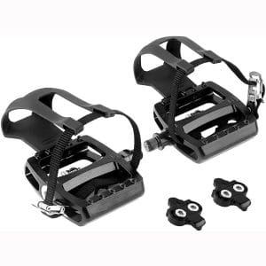 HEPINGJIANGENBO Spin Bike Pedals Indoor Cycling Pedals Dual Platform Bike Pedals Hybrid Pedal with Toe Clips and Straps Suitable for Exercise Bike