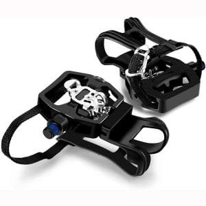 INPUSLIN SPD Pedals 9:16'' Spin Bike Pedals Hybrid Pedal with Toe Clips and Straps Suitable for Spin Bike, Exercise Bikes and All Indoor Bike:Peloton Pedals:Toe Cages for Peloton Bike