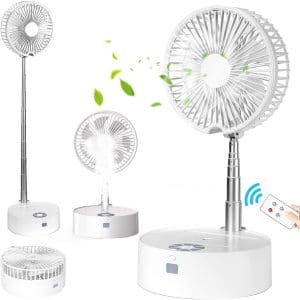 Portable Folding Misting Fan, Taipow Oscillating Standing Fan USB Rechargeable Small Fan with Lights and Remote Control with 4 Speed Humidifying Spray Fan (White)