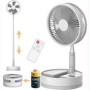Desk and Floor Fan, Aihanch Rechargeable 10800mAh Battery Operated Fan Oscillating Fan, 4 Speeds Height Adjustable Foldaway Fan with Remote Timer Night Light for Home Outdoor Camping Travel