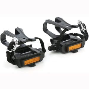 zonkie Bike Pedals with Toe Clip and Strap, Plastic Bike Pedals for MTB and Road Bike, 9:16 Inch