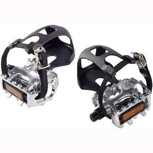 AbraFit 9:16-Inch Premium Quality Bicycle Pedals with Toe Clips and Straps, Easy to Install, Nice Toe-Room Area