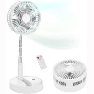 """Portable Standing Fan with Remote Controller, 7.5"""" Foldable Desk Fan, 7200mah & USB Quiet Fan, Mini Foldaway Floor Fan, Telescopic Pedestal Fans for Personal Bedroom Office Fishing Camping (White)"""