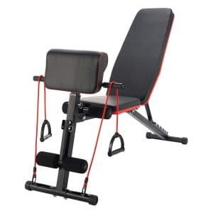 ZELUS Adjustable Weight Bench with Resistance Bands